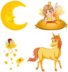 Fairy tales characters and moon vector