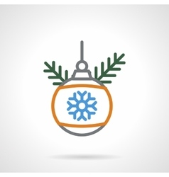 Christmas bauble color line icon vector