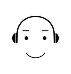 Icon smiley listening to music vector