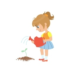 Girl watering a sprout vector