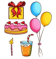 A simple coloured sketch of a birthday celebration vector