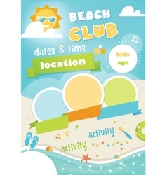 Beach club or camp for kids summer poster vector