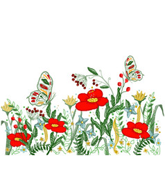 beautiful flowers embroidery vector image vector image