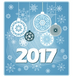 blue new year card 2017 vector image