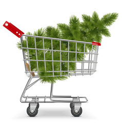Cart with christmas tree vector