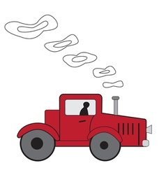 Cartoon red tractor vector image vector image