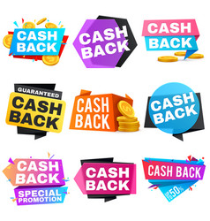 Cash back sale banners with ribbons saving vector