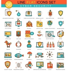 Cyber security flat line icon set modern vector