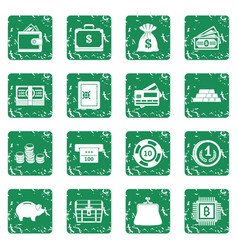 Different money icons set grunge vector