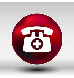 Emergency call sign icon fire phone number button vector