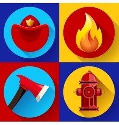 Firefighter icons elements set vector image