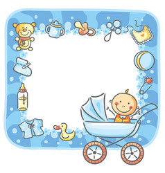 frame with baby-boy things vector image