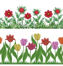 Grass and flowers set seamless vector