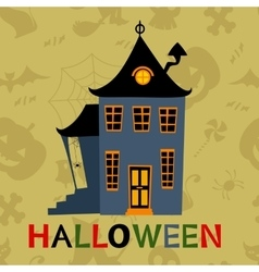 Halloween haunted house card vector