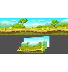 Landscape with separated layers for game vector