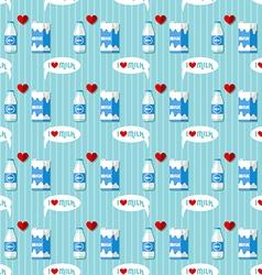 Milk bottle and milk carton seamless pattern vector