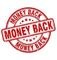 money back red grunge round vintage rubber stamp vector image
