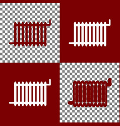 Radiator sign bordo and white icons and vector
