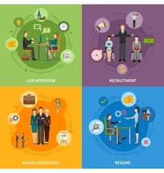 Recruitment HR People 2x2 Icons Set vector image vector image