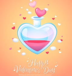 Romantic love potion in a heart shaped glass flask vector
