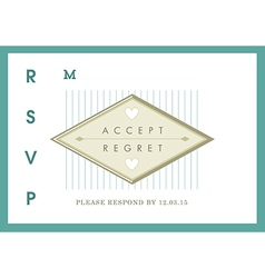 RSVP Wedding card green ribbon theme vector image vector image