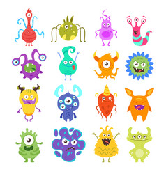 set of colorful funny bacteria vector image