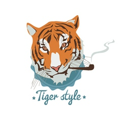 Smoking tiger portret vector image