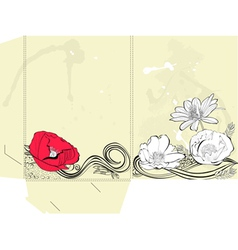 Template for folder with floral element vector image