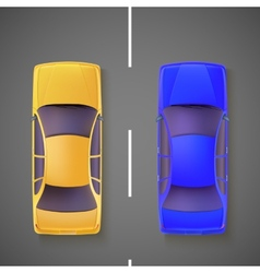 Two car top view vector