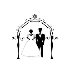 Vintage graphic chuppah arch jewish wedding vector