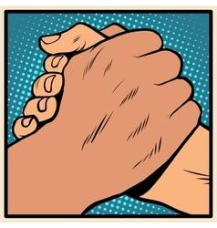 White black solidarity handshake stop racism vector