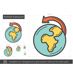 Worldwide shipping line icon vector