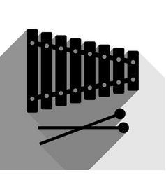 xylophone sign black icon with two flat vector image vector image