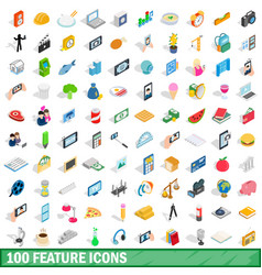 100 feature icons set isometric 3d style vector