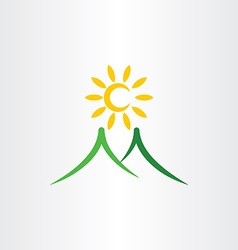 Mountain sun nature landscape icon vector