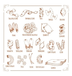 Pasta and macaroni sorts sketch icons vector image