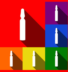 Medical ampoule sign  set of icons with vector