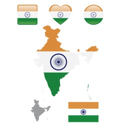 Indian flag and icons vector
