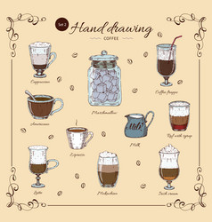 coffee hand drawn colored set vector image
