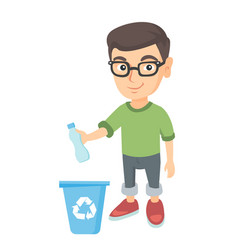 Boy throwing plastic bottle in recycle bin vector