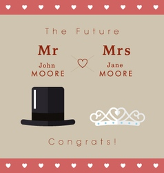 Mr and mrs wedding card vector