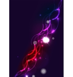Abstract wave color glowing lines in dark space vector