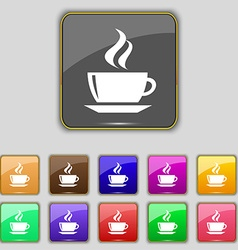 Tea coffee icon sign set with eleven colored vector