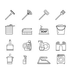 Line art household cleaning symbols accessories vector