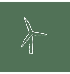 Windmill icon drawn in chalk vector