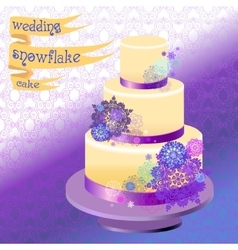 Wedding cake with winter snowflakes design vector