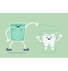 Teeth cleaning by dental floss vector
