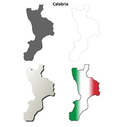 Calabria blank detailed outline map set vector