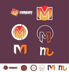 Alphabet letter m logo purple vector