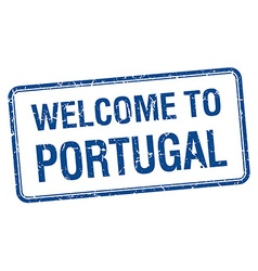 Welcome to portugal blue grunge square stamp vector